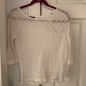 white knit half sleeve sweater